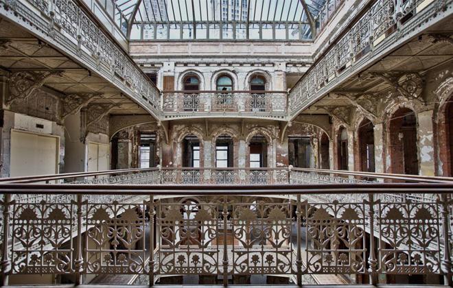 Top floor of the atrium in 5 Beekman Place, shot pre-restoration by Darren Ketchum.