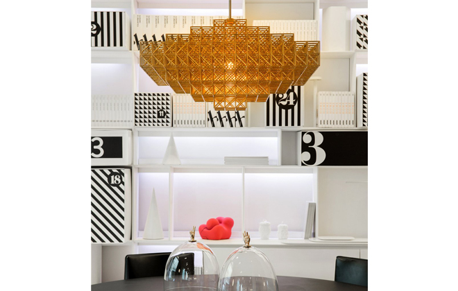 Loving all that brass! The Gridlock Pendant by Philippe Malouin.