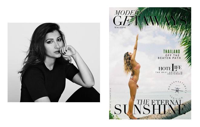 Left: Yas Bitarafan; right: Issue 1 of Modern Getaways Magazine