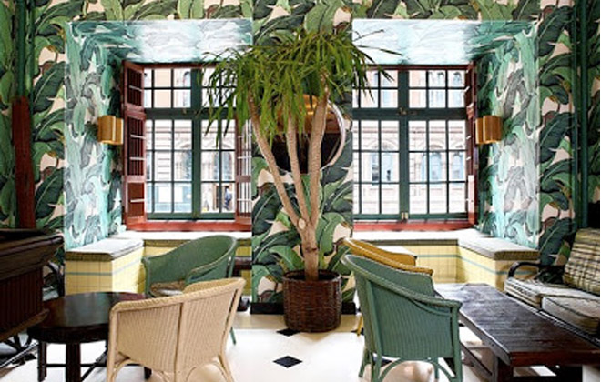 The iconic Martinique Wallpaper at Indochine. (Photo courtesy of Indochine).