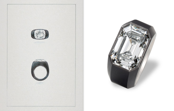 A sketch of the first iron ring, along with a contemporary ring from the collection.