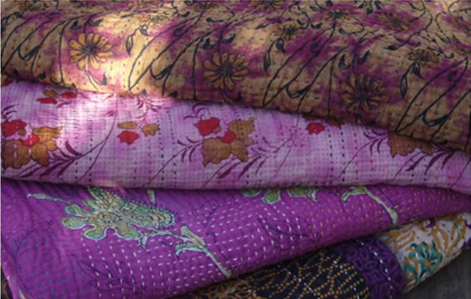 Jeanette Farrier's kantha quilts.