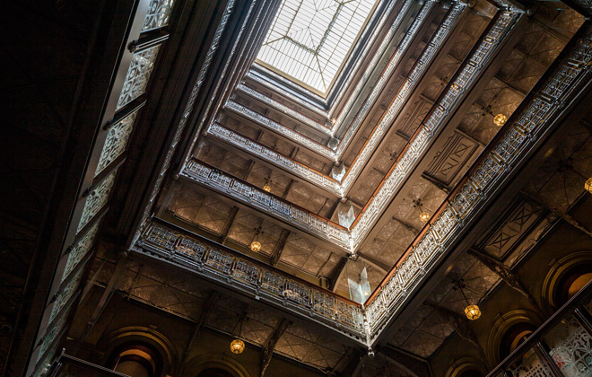 The restored, nine-story atrium is now open. [Photo: Richard Barnes, courtesy of The Beekman Hotel]