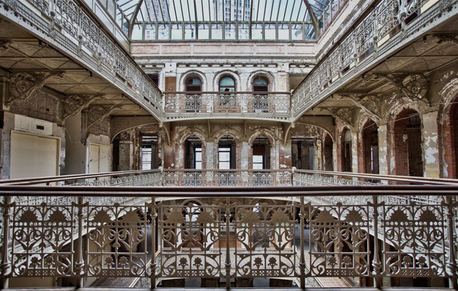 Top floor of the atrium in 5 Beekman Place, shot pre-restoration by Darren Ketchum.