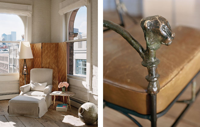 Right: A sunny corner in AM's Soho loft, with Jean Michel screen; Right: detail of an antique Giacometti cast chair.