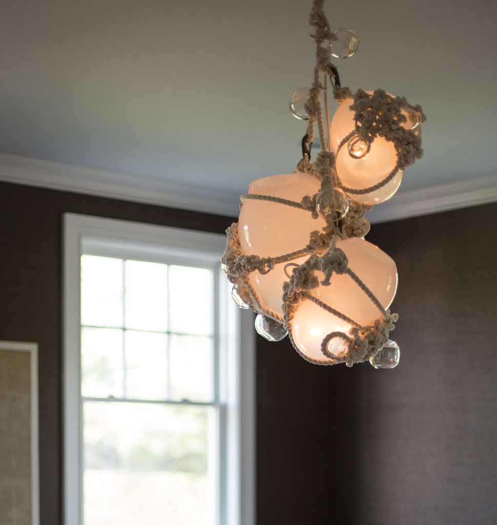 Lindsay Adalman's Knotty Bubbles Chandelier, pictured here in a private residence in Bridgehampton.