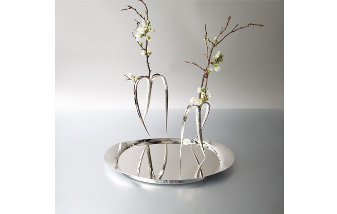 Sterling Silver Tray with two Vases