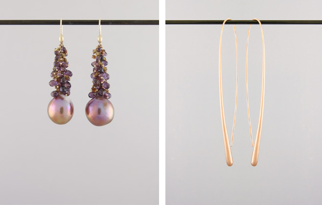 Left: Crunchy Top Mauve Pearl with Adalusite and Tourmaline Briolettes; Right: Long Drop Rose Gold earrings